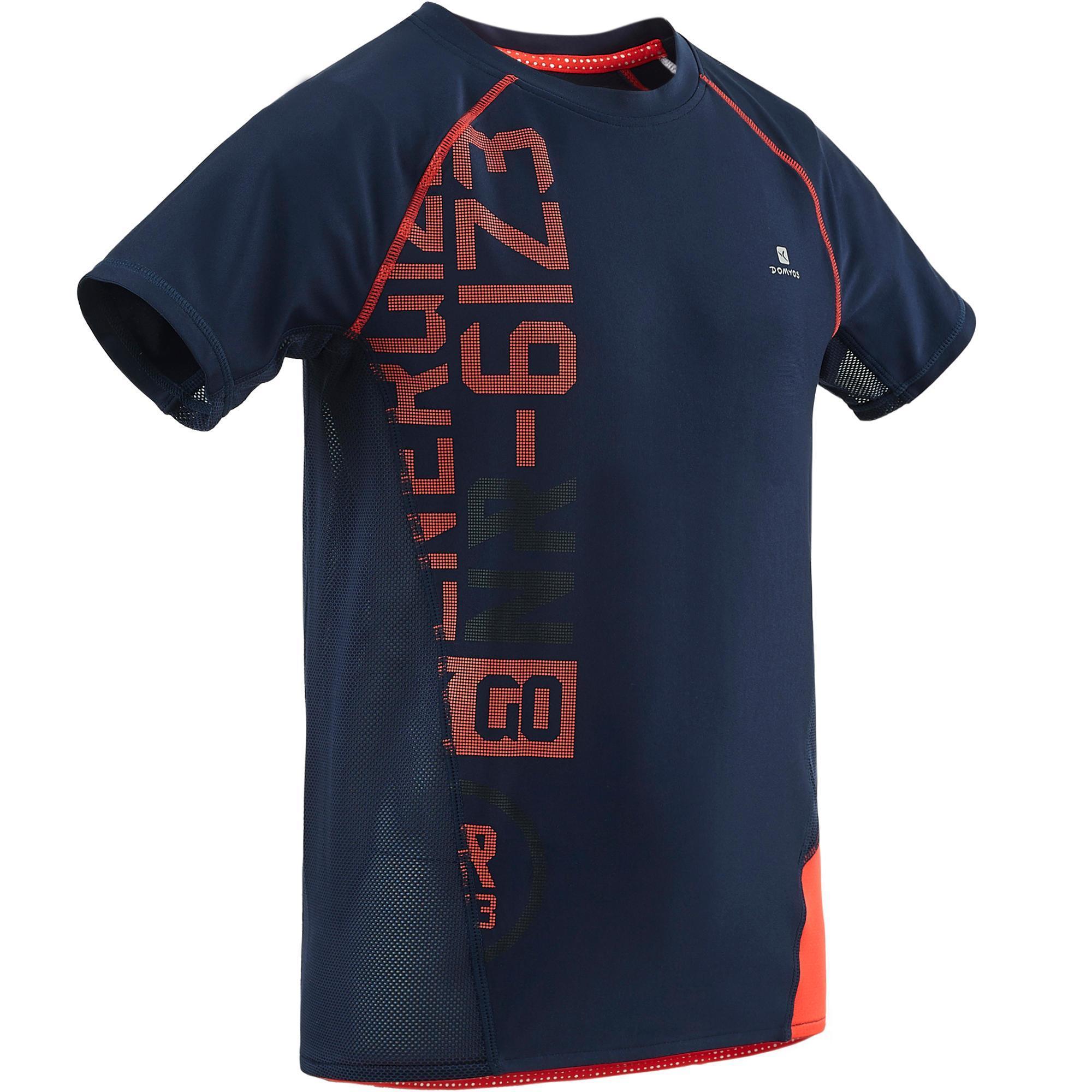 Domyos Gym T-shirt met korte mouwen S900 voor jongens slim fit blauw met opdruk