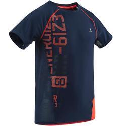 Gym T-shirt met korte mouwen S900 voor jongens slim fit blauw met opdruk