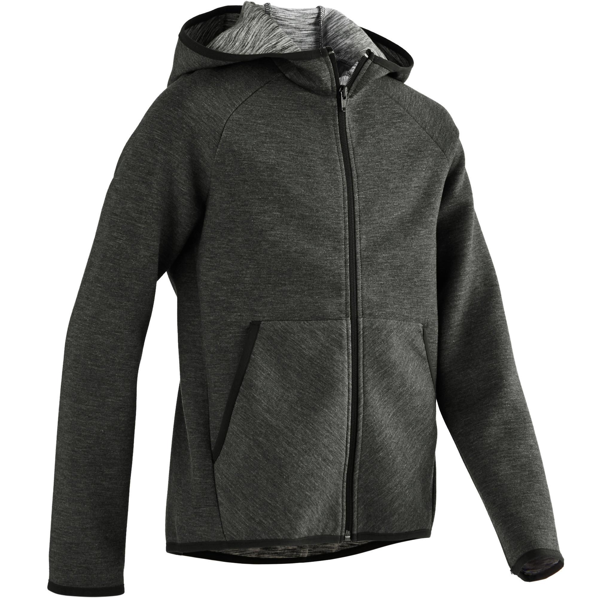 Kapuzenjacke Spacer 500 Gym Kinder schwarz