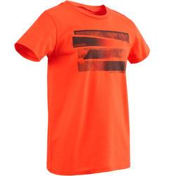 Gym T-shirt 100 met korte mouwen voor jongens met opdruk