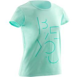 Gym T-shirt met korte mouwen 100 voor meisjes blauw print