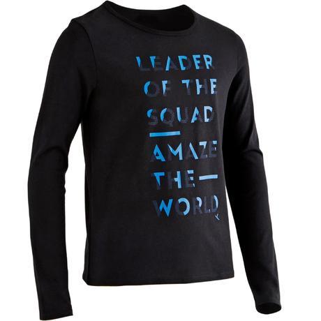 fe5026ebaf6d0 T-Shirt manches longues 100 Gym garçon noir imprimé