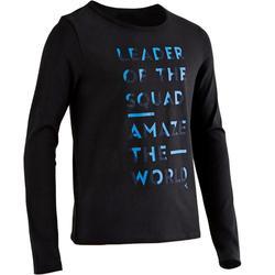 100 Boys' Long-Sleeved Gym T-Shirt - Black Print