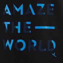 Gym T-shirt met lange mouwen 100 voor jongens zwart met print