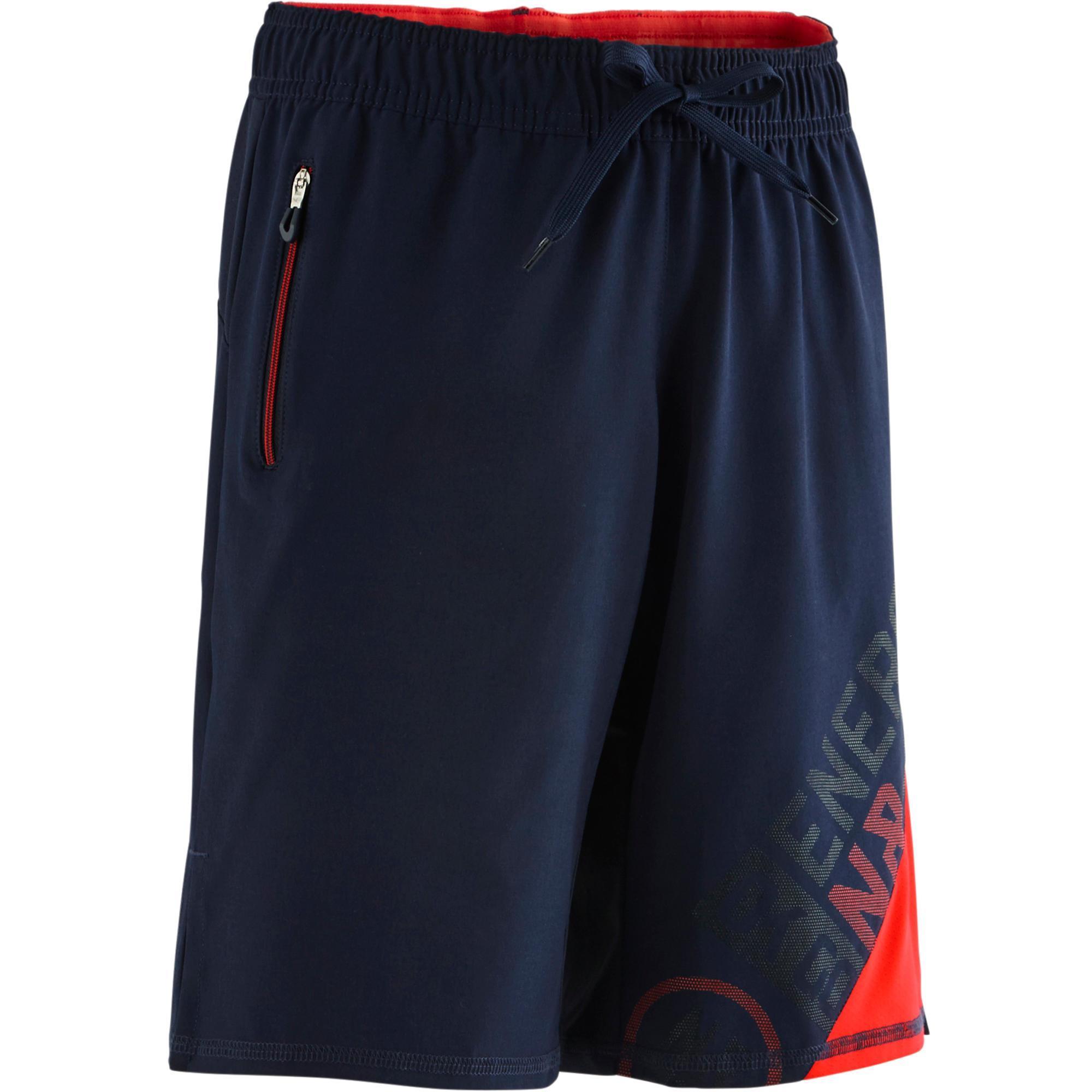 Domyos Gymshort W900 voor jongens marineblauw rood print