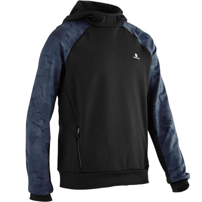 Sweat capuche S900 Gym garçon noir bleu