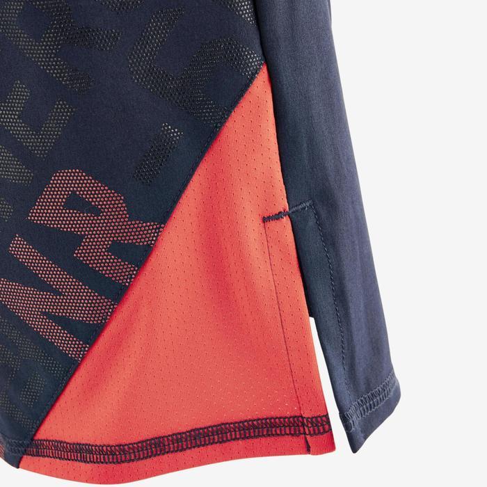 Sporthose kurz W900 Gym Kinder marineblau/rot bedruckt