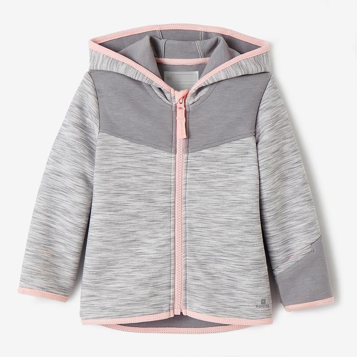 Kapuzenjacke 500 Babyturnen grau/rosa