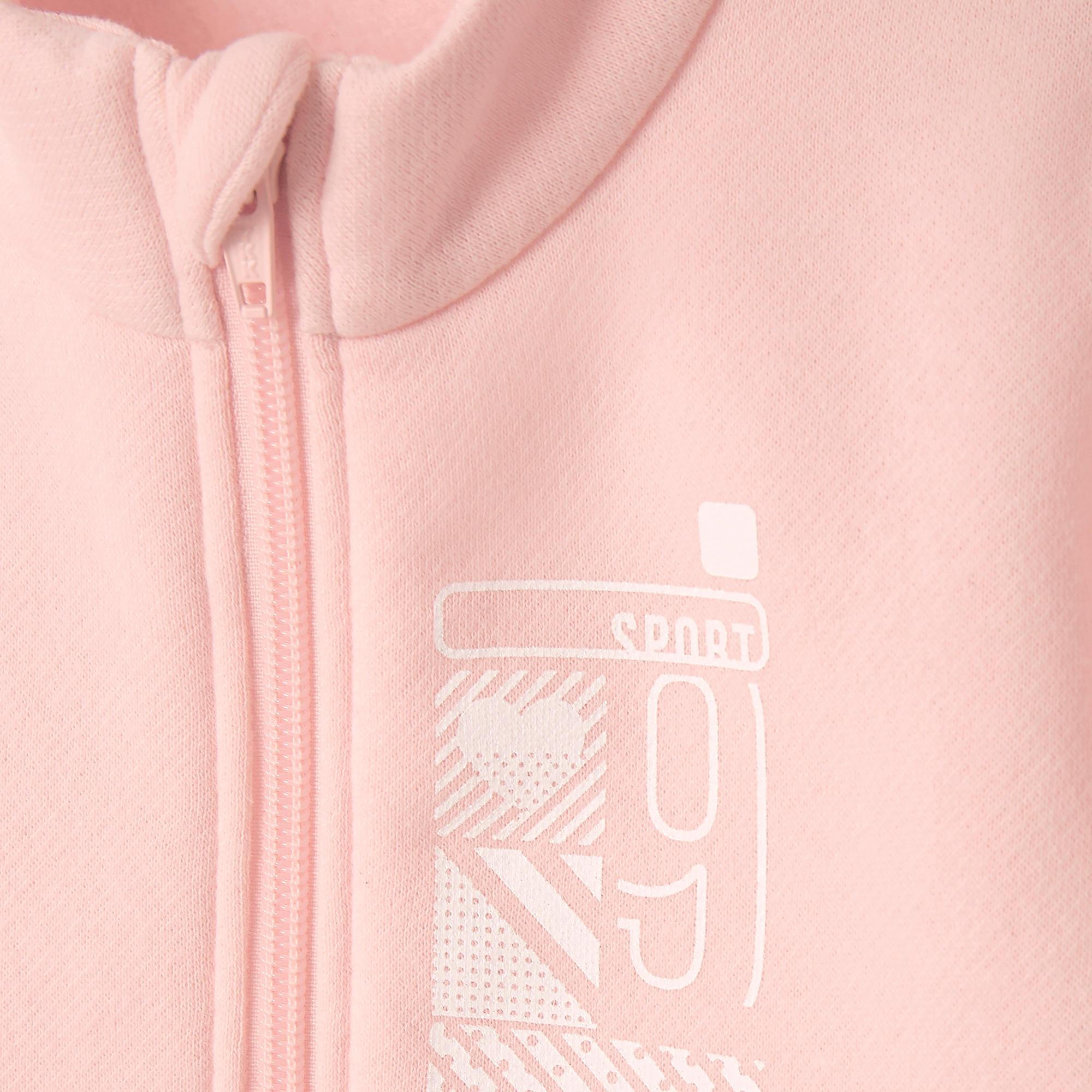 Survêtement 100 Gymnastique pour enfant rose imprimé Warm'y glissière