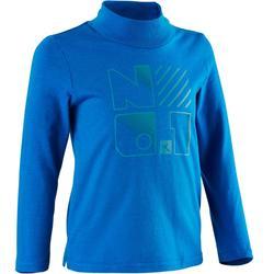 幼童健身長袖T恤500 - 藍色印花