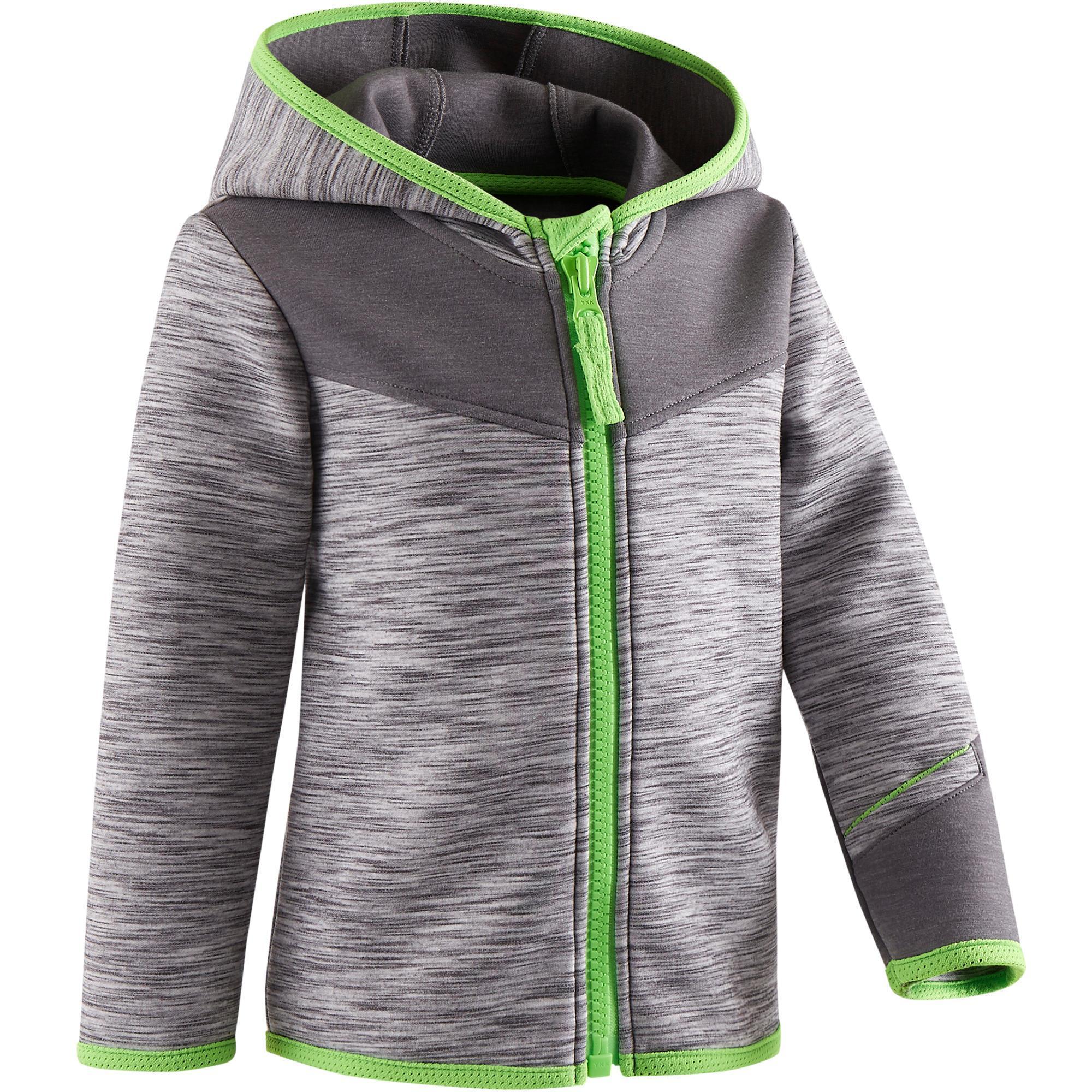 e0c2d48074f7 Baby Gym Boy s Clothing 500 Baby Gym Jacket - Grey Green - Decathlon