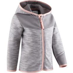 Hoodie met rits spacer 500 voor kleutergym grijs roze