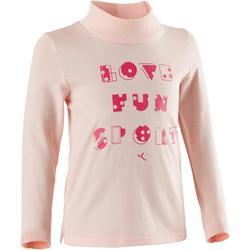 幼童健身長袖T恤500 - 粉色印花