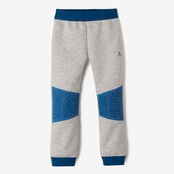 Pantalón 500 Gimnasia Infantil Gris claro/Azul