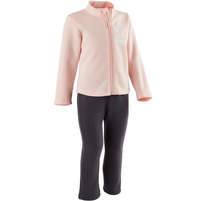 Joggingpak Warm'y zip 100 voor kleutergym roze