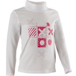 Set van 2 T-shirts met lange mouwen voor peuter- en kleutergym 500 wit roze