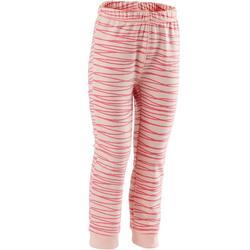 Broek 100 voor kleutergym slim fit roze met roze opdruk