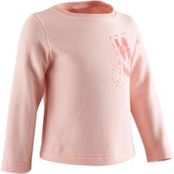 Sweater 100 voor kleutergym roze met opdruk