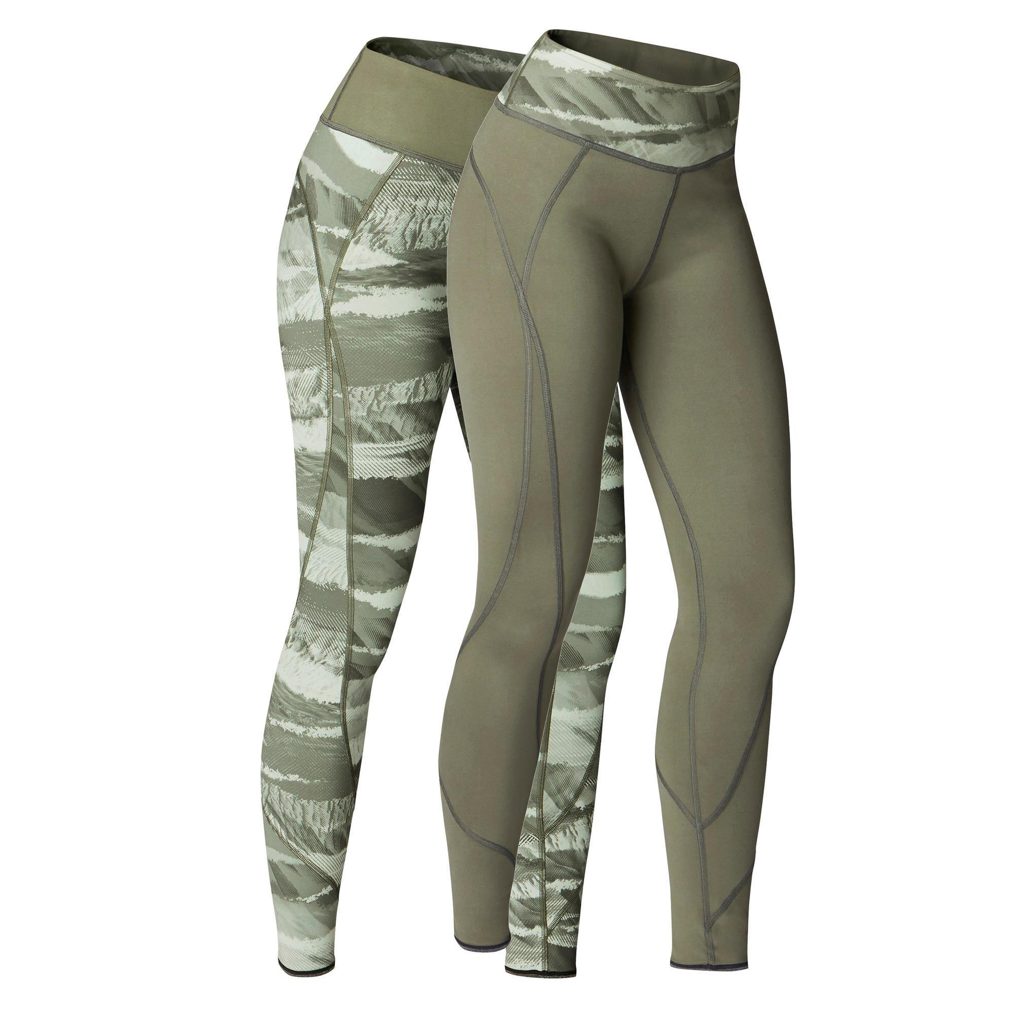41df8b3f35c77 Yoga+ 920 Women's Reversible Leggings - Khaki | Domyos by Decathlon
