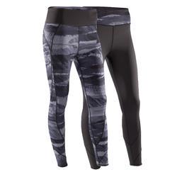 女性可雙面穿式瑜珈運動緊身褲 Yoga+ 920 - 黑色/白色印花