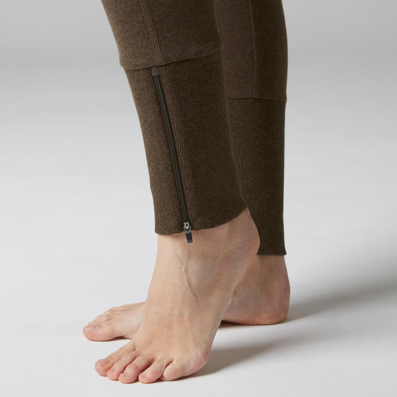 500 Women's Stretching Slim-Fit Zipped Ankle Bottoms - Heathered Brown