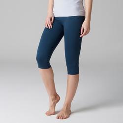 Dameskuitbroek 900 voor gym, stretching en pilates slim fit donkerblauw