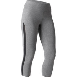 Legging 7/8 520 slim Gym étirements femme gris chiné