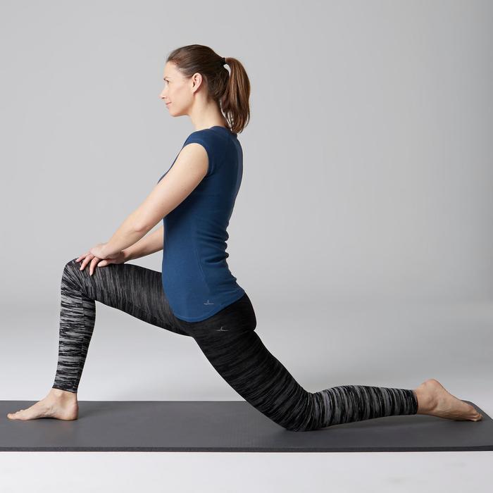Leggings FIT+ 500 Slim Gym Stretching Damen schwarz/grau AOP