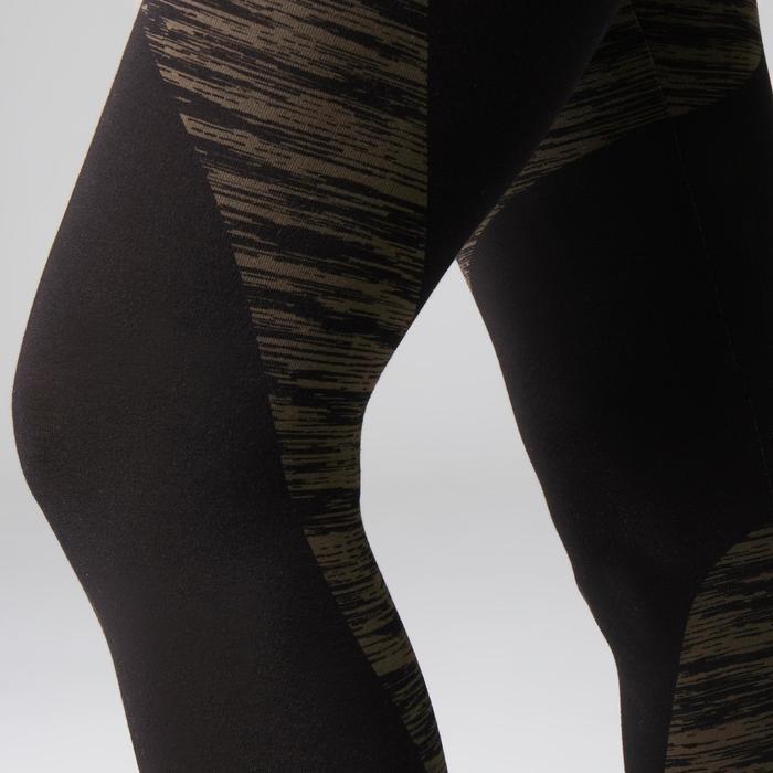 Leggings Fit+ 500 Slim Gym Stretching Damen schwarz/khaki