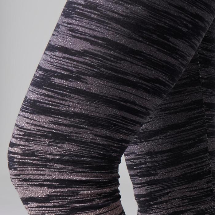 Dameslegging FIT+ 500 voor gym en stretching slim fit zwart/grijs AOP