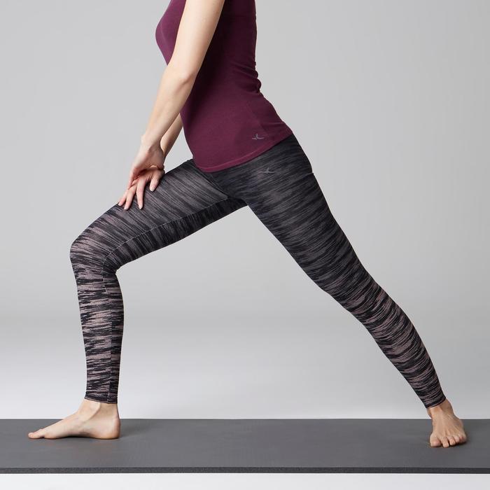 Leggings Fit+ 500 Slim Gym Stretching Damen schwarz/grau