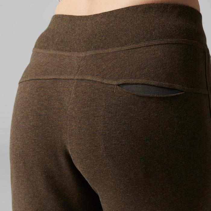 Damesbroek 500 pijpen met rits voor gym en stretching slim fit gemêleerd bruin