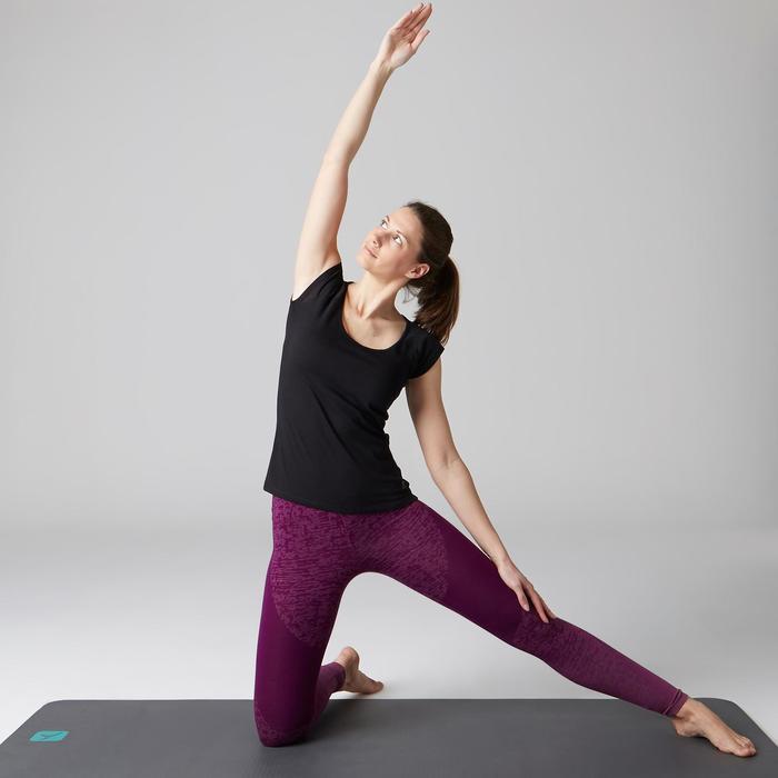 Legging FIT+ 500 slim fit gym en stretching dames paars AOP