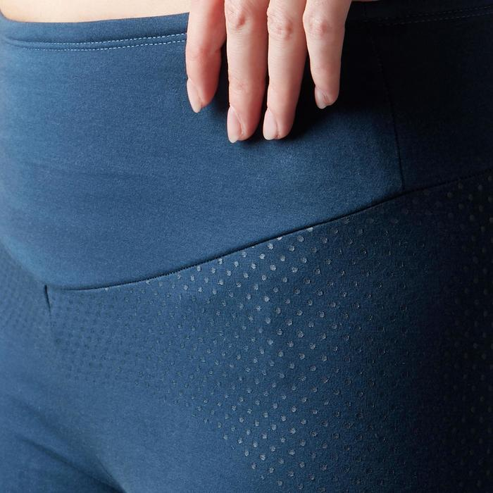 Dameskuitbroek 900 voor gym, stretching en pilates slim fit donkerblauw