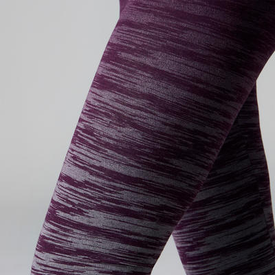 Legging FIT+ 500 slim Gym Stretching femme violet/gris AOP