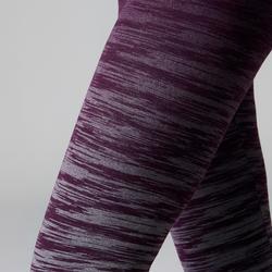 Leggings FIT+ 500 slim Gimnasia Stretching mujer violeta/gris AOP