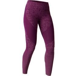 Dameslegging FIT+ 500 voor gym en stretching slim fit paars AOP