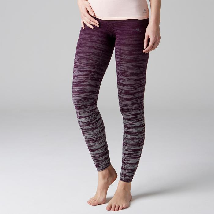 Leggings FIT+ 500 slim Gimnasia Stretching mujer violeta/gris AOP