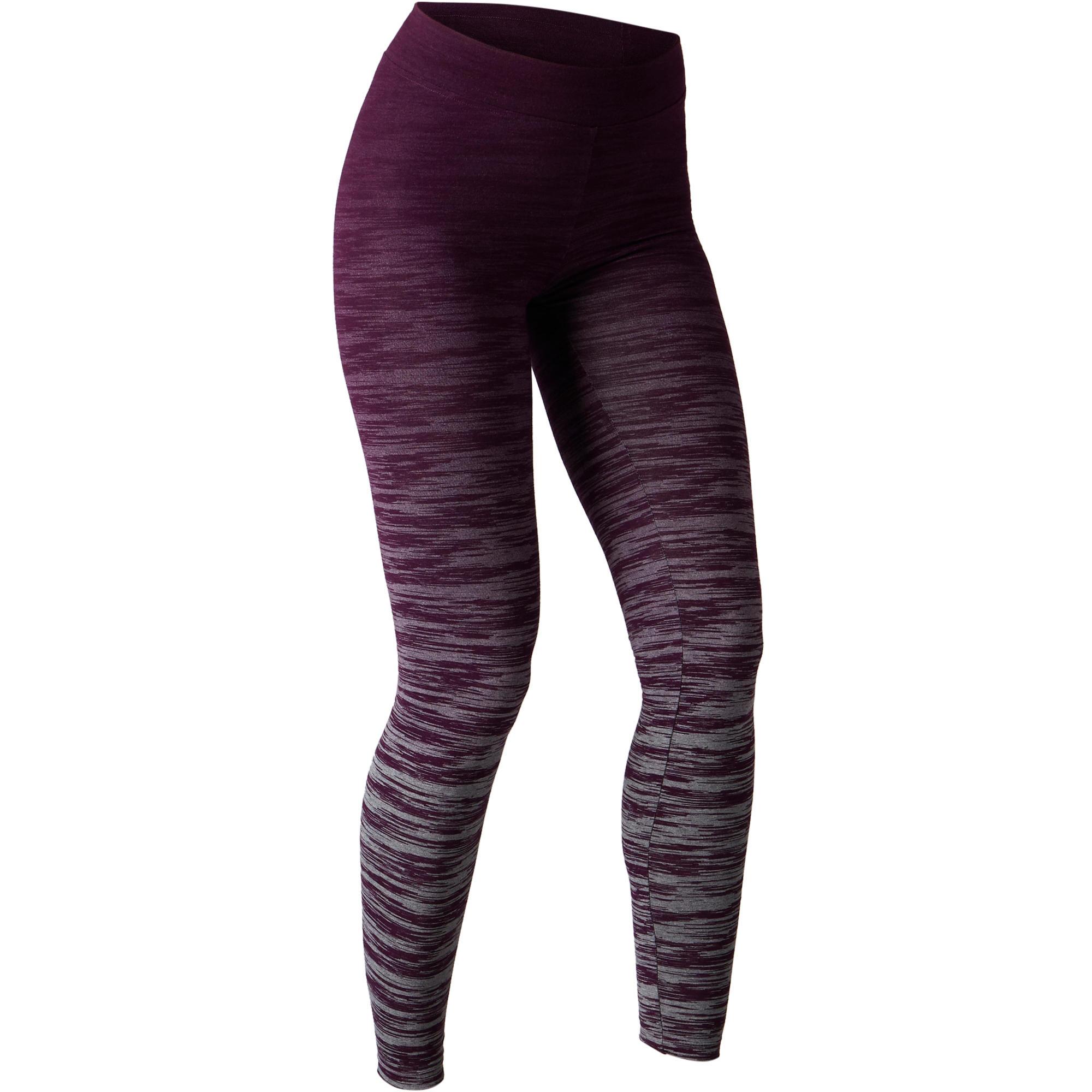 Legging FORME+ 500 slim Gym étirements femme violet/gris AOP