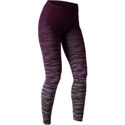 Dameslegging FIT+ 500 voor gym en stretching slim fit paars/grijs AOP