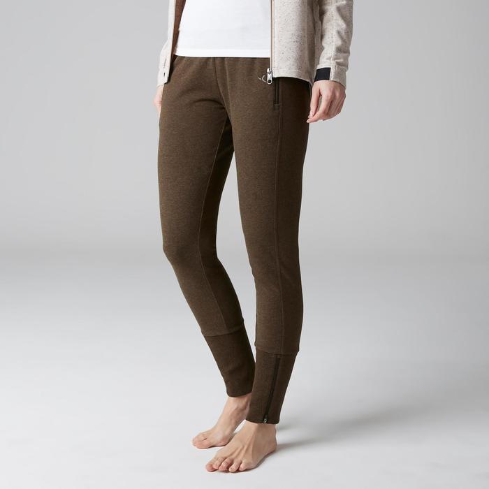 Pantalon 920 Gym & Pilates femme bas zippé gris chiné moyen - 1503069