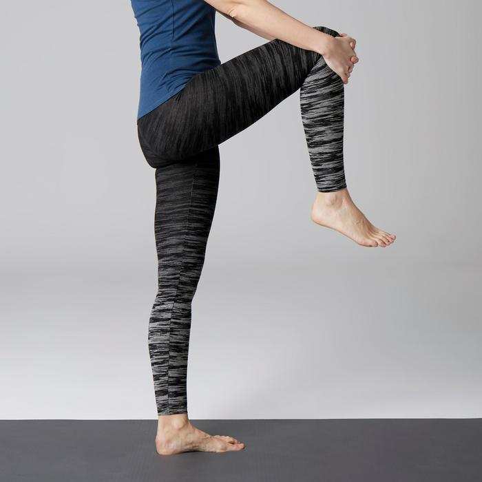 Legging FIT+ 500 slim fit gym en stretching dames zwart/grijs AOP