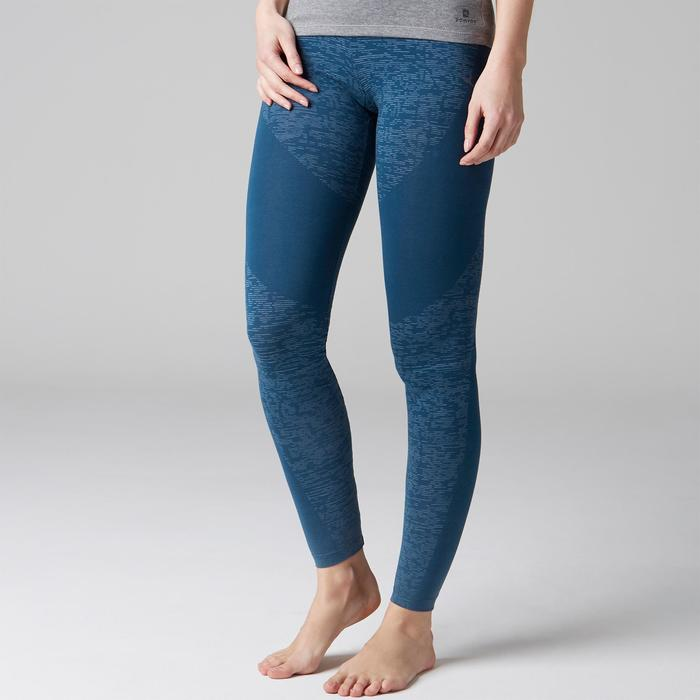 Legging FIT+ 500 slim Gym Stretching femme bleu AOP