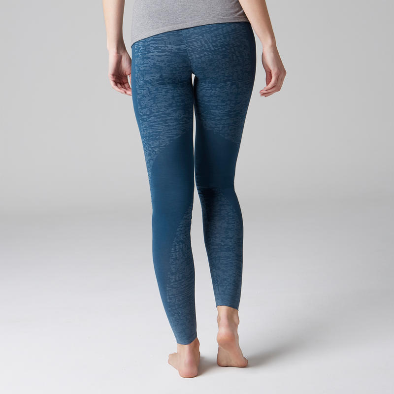 Legging FIT+ 500 slim Gym Stretching femme bleu AOP
