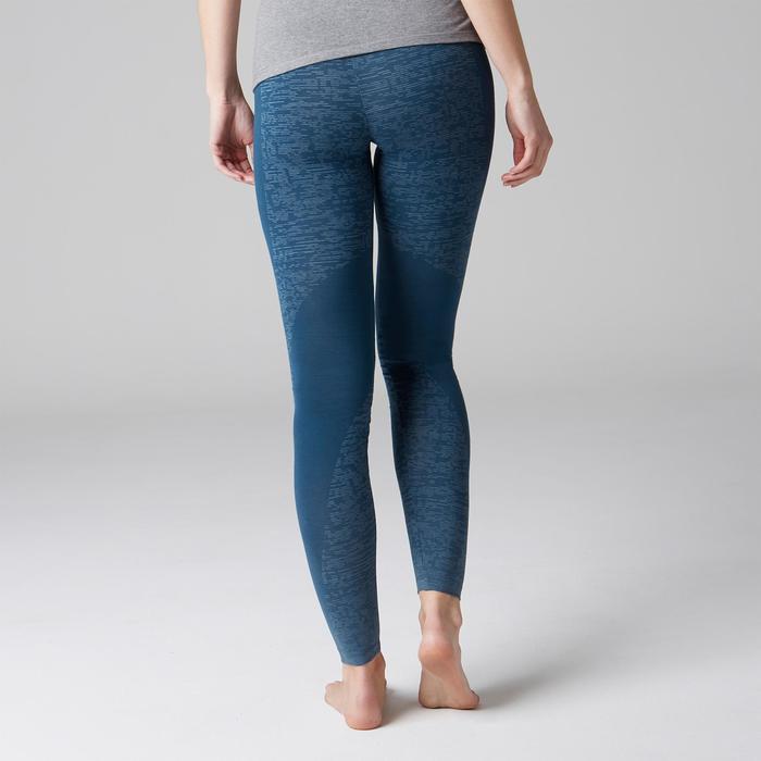 Legging FIT+ 500 slim fit gym en stretching dames blauw AOP