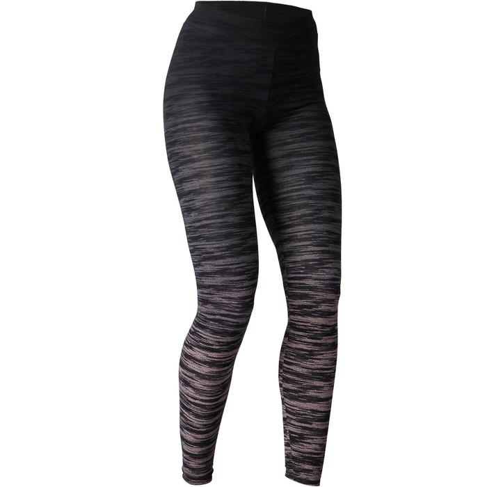 Leggings FIT+ 500 slim Gimnasia Stretching mujer negro/gris AOP