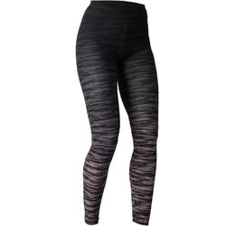 Dameslegging FIT+ 500 voor gym en stretching slim fit zwart/grijs AOP