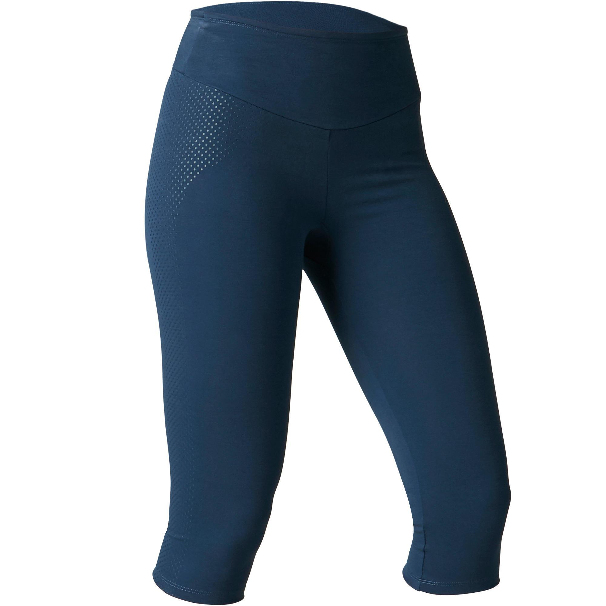 Domyos Dameskuitbroek 900 voor gym, stretching en pilates slim fit donkerblauw