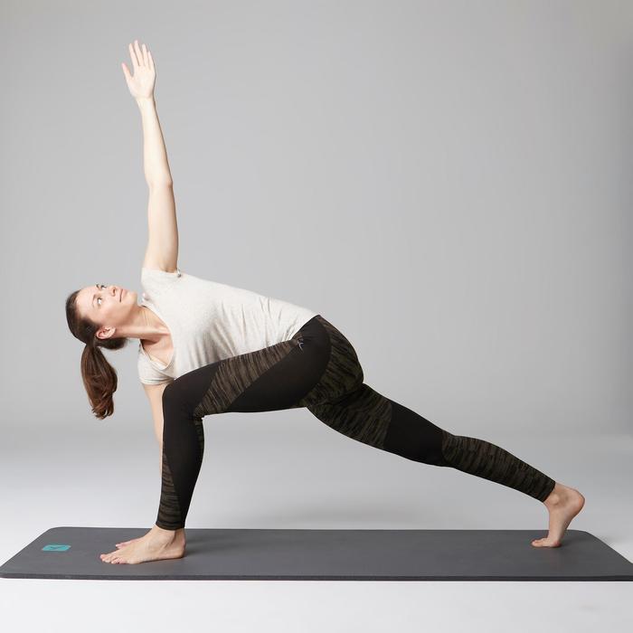Legging FIT+ 500 slim fit gym en stretching dames zwart/kaki AOP