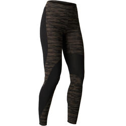 FIT+ 500 Women's Slim-Fit Gym Leggings - Black/Khaki
